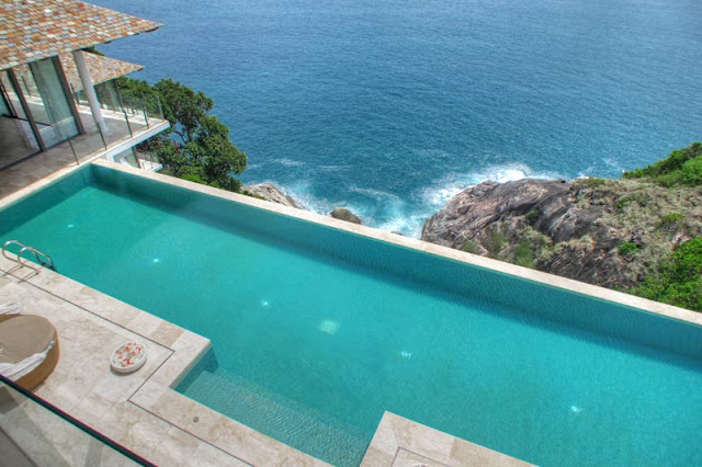 Swimming pool on the cliff above the ocean