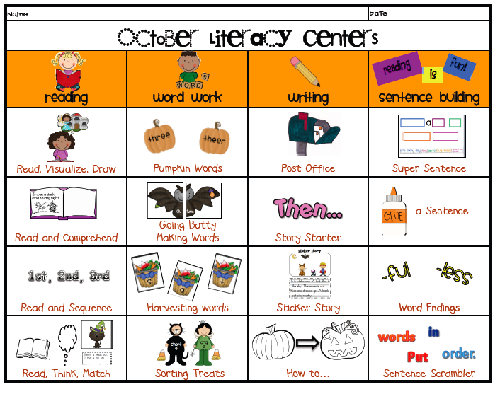 It's just a photo of Lucrative Printable Literacy Centers First Grade