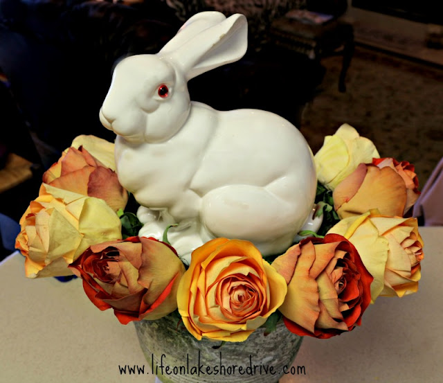 bunny and roses urn centerpiece, spring decor, Easter, tutorial, diy