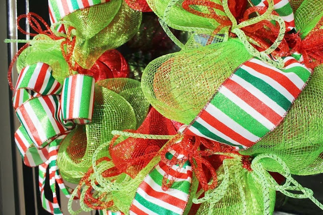 ribbon and tubing on mesh wreath