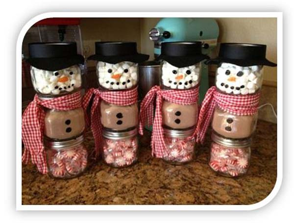 http://www.bargainblessings.com/homemade-christmas-gift-ideas-stacked-jar-hot-chocolate-snowmen/