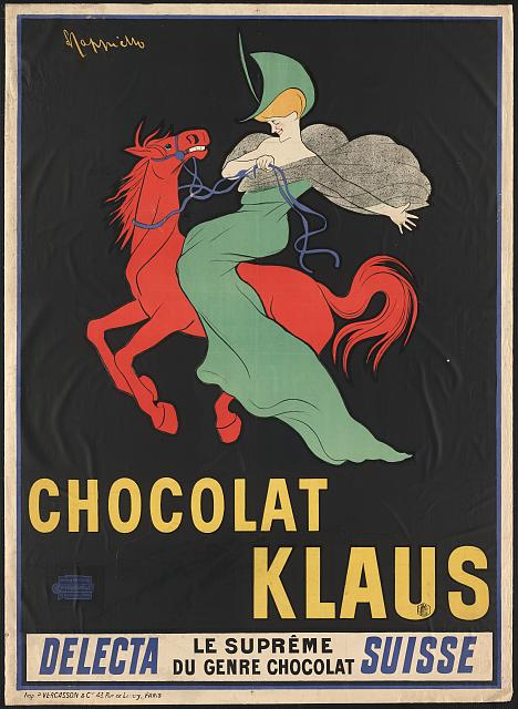 advertising, food, vintage, vintage posters, graphic design, free download, retro prints, classic posters, Chocolat Klaus - Vintage Swiss Chocolate Advertising Poster