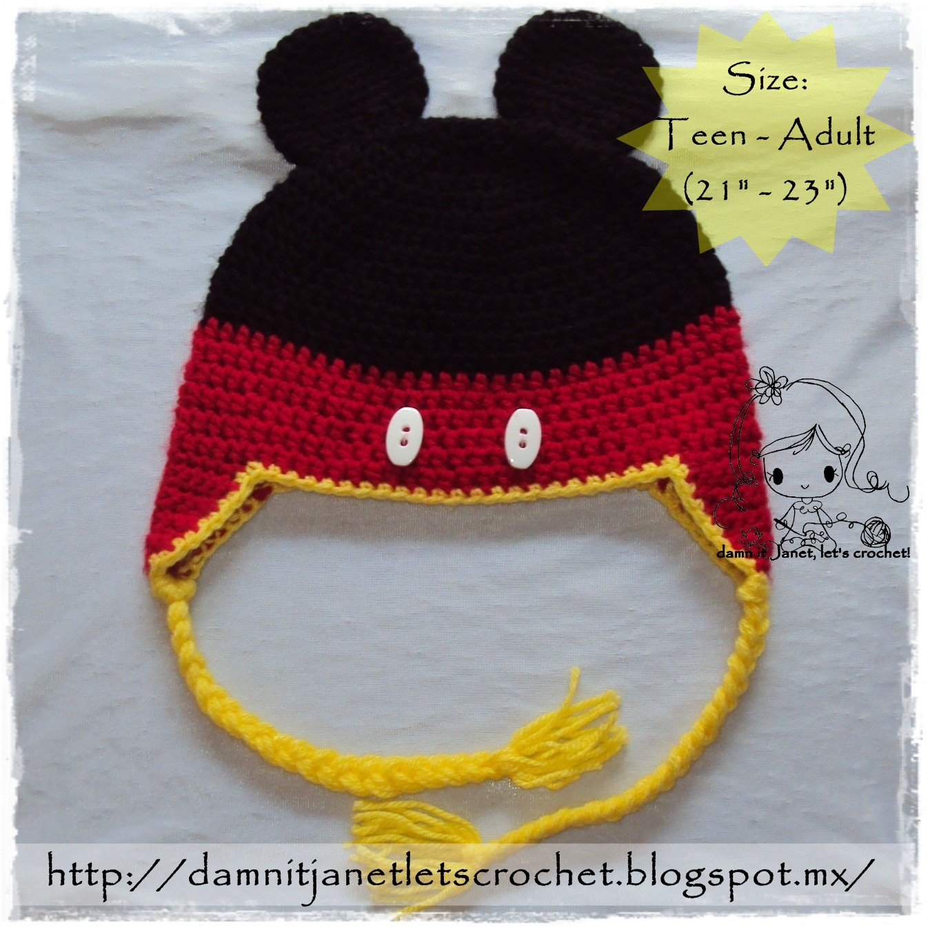 Free Crochet Pattern For Child s Minnie Mouse Hat : damn it Janet, lets crochet!: Mickey Mouse Earflap Beanie