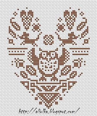 Схемы для вышивки совушек с сердечками.  Автор схем и вышивок указан на фото. #вышивка.