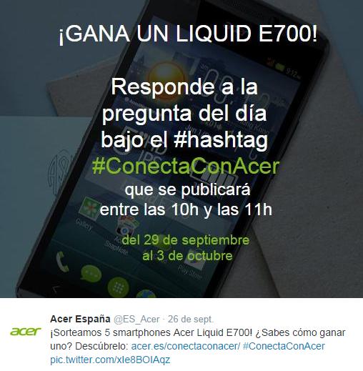 Puedes ganar 1 de los 4 Acer Liquid E700 que va a entregar Acer.