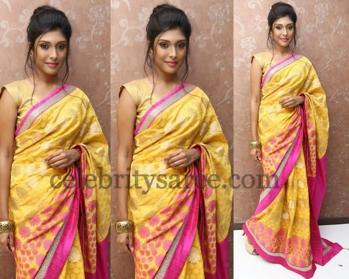 Dhanshika Gold Silk Saree