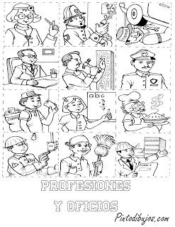 Oficios y profesiones para colorear | 1 de mayo  para pintar