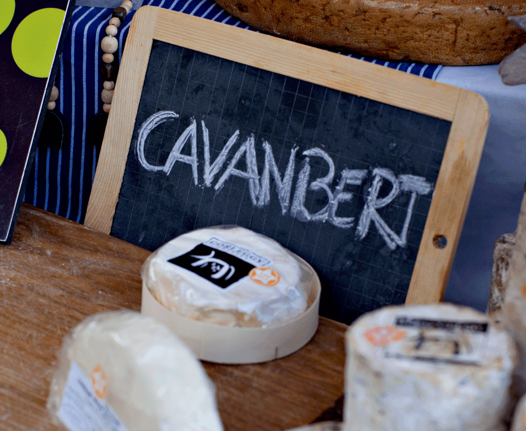 "close up of Corleggy cheese and a sign reading ""Cavanbert""; Irish food"