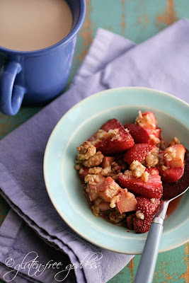 Strawberry Rhubarb Crumble made with light and lovely quinoa flakes