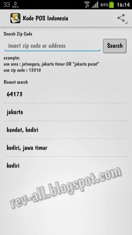 Tampilan utama/ pencarian aplikasi Kode Pos Indonesia (rev-all.blogspot.com)
