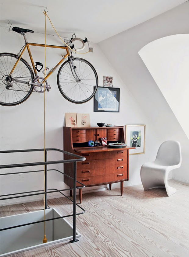 panton chair, bike on wall