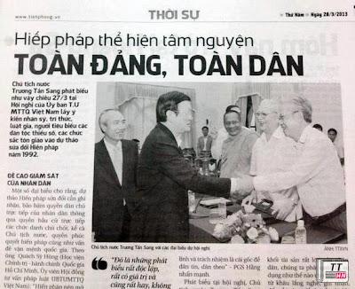 """""""Hiến pháp""""thành """"Hiếp pháp"""" của Báo Tiền Phong"""