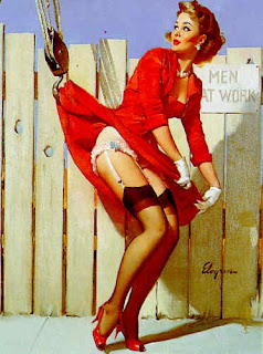 Construction workers get a peek pinup girl art 1960s Elvgren