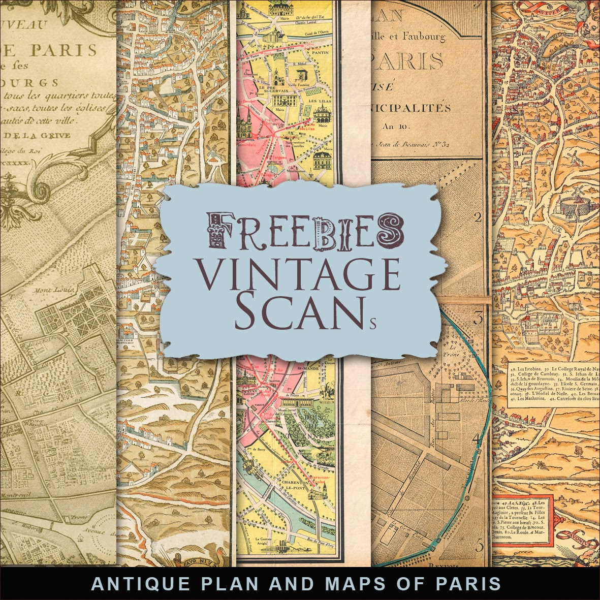 new freebies kit of antique maps of paris
