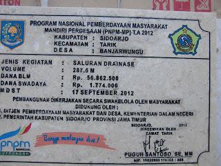 Prasasti Marmer PNPM Kec.Tarik Sidoarjo