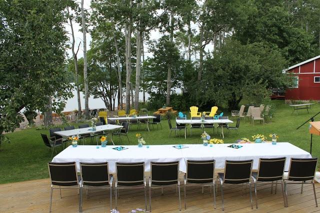 Синьо жовтий дизайн весільної забави