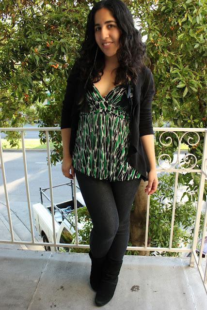 DVF Green and Black Tank Top Forever 21 Jeans