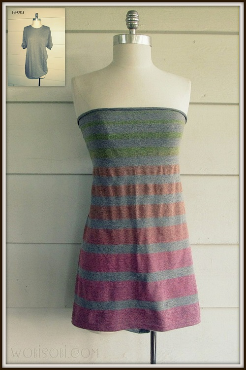 Ilovetocreate blog striped strapless no sew t shirt diy for Easy to make t shirt dress