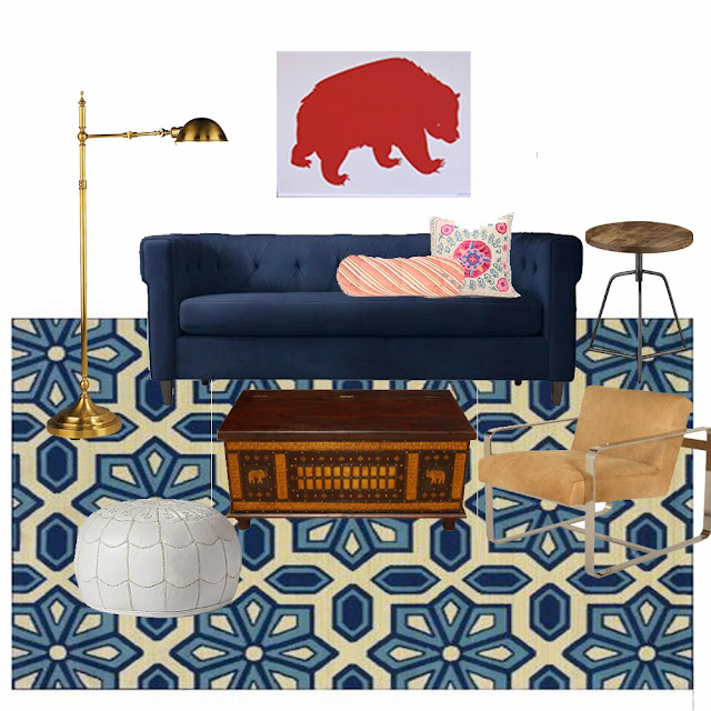 A recreation of Emily Henderson's vintage living room