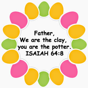Little rock mommy extreme couponing diy easter basket gifts then i designed an easter border and put the bible verse father we are the clay you are the potter isaiah 648 in the middle and printed on cardstock negle Choice Image