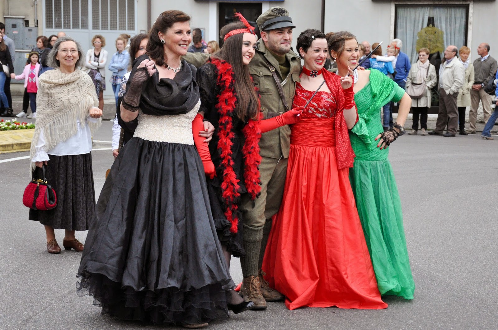 A soldier and women of ill repute at the Parade, Donkey Race, Romano d'Ezzelino, Veneto, Italy