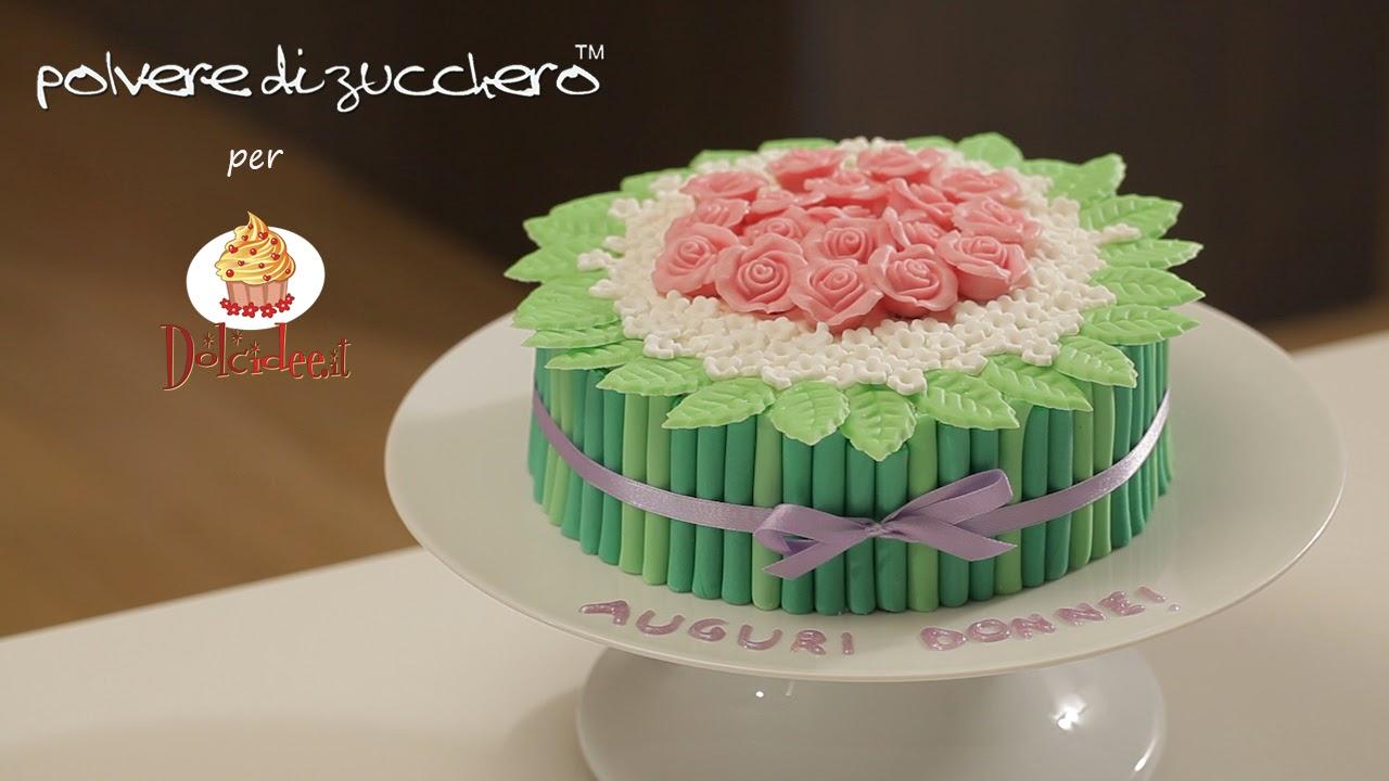 videoricetta tutorial passo a passo dolcidee paneangeli cameo polvere di zucchero cake design torta bouquet mudcake