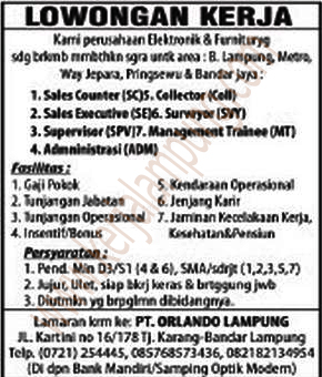 Lowongan Kerja PT Orlando Lampung Mei 2013
