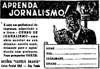 Custo de jornalismo por correspondência em 1946.