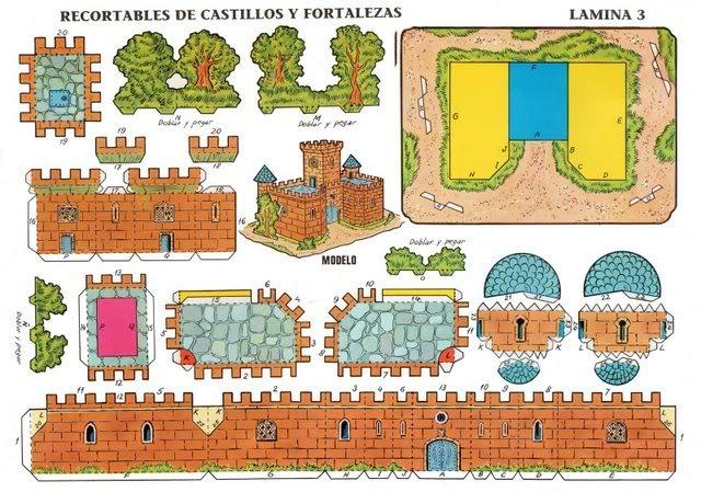 Схемы моделей замка из бумаги
