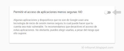 Permitir el acceso de aplicaciones menos seguras a una cuenta de Google
