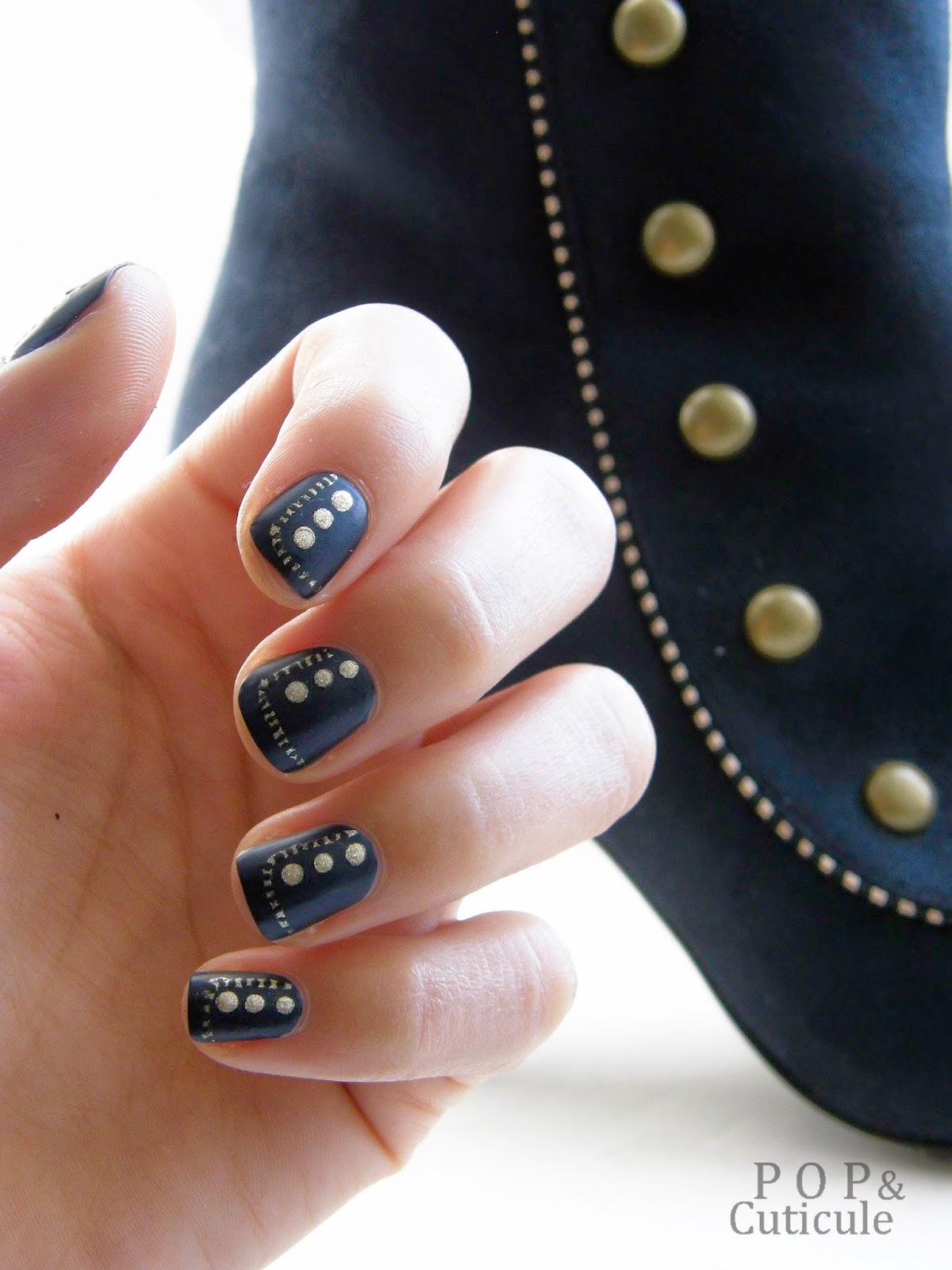 Pop & Cuticule nail art gold bleu marine or