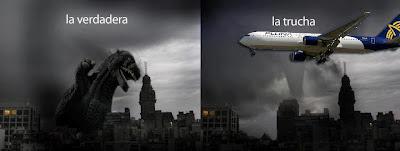 Tormenta Montevideo 2012 Godzilla avión Pluna