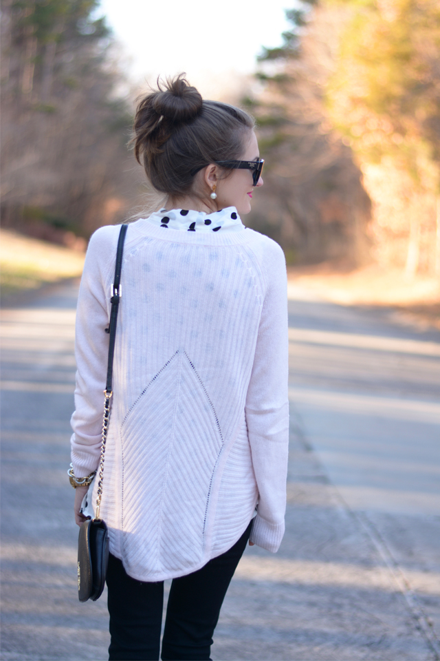 The back of this sweater is so cute
