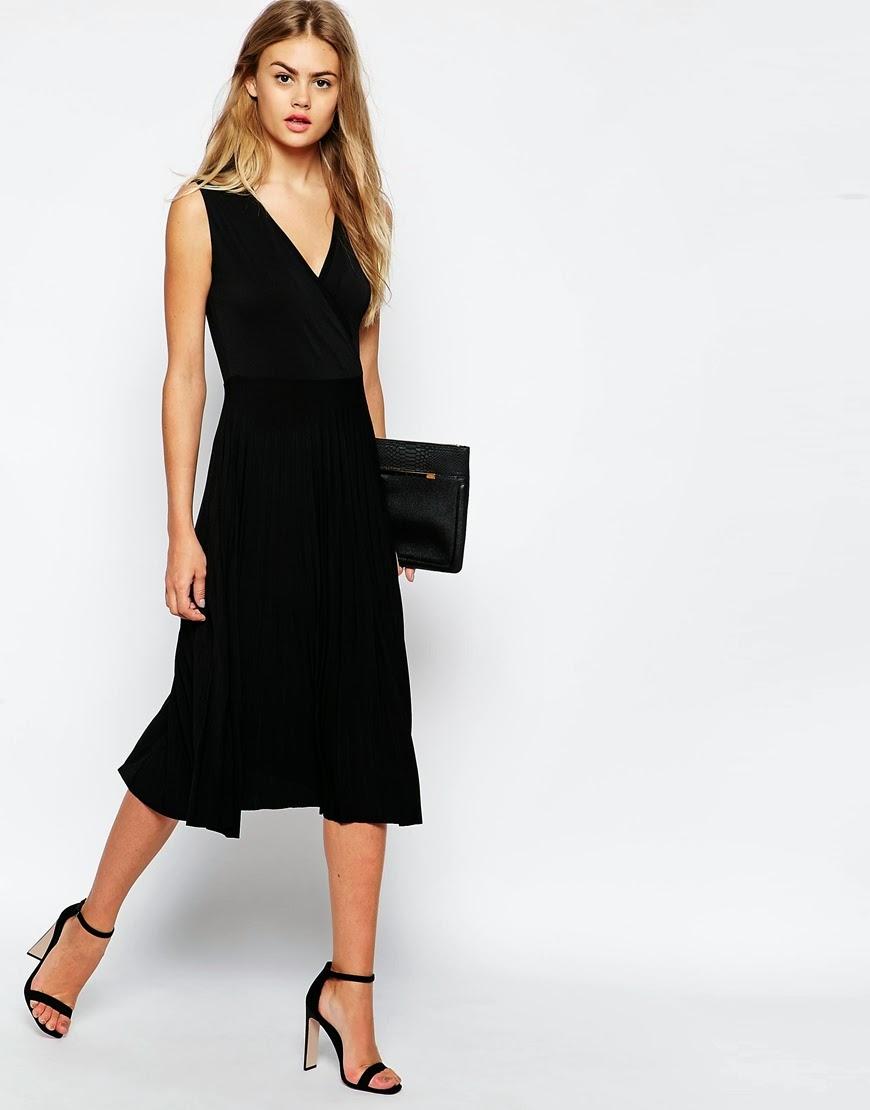 black v neck asos dress