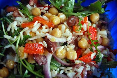 σαλάτα με ρόκα, ρύζι και ρεβίθια/Arugula, Rice and Chickpea Salad