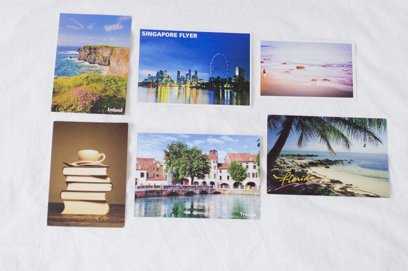 inspiracje,postcrossing, Irlandia, Singapur, Francja, książki, plaża, widok