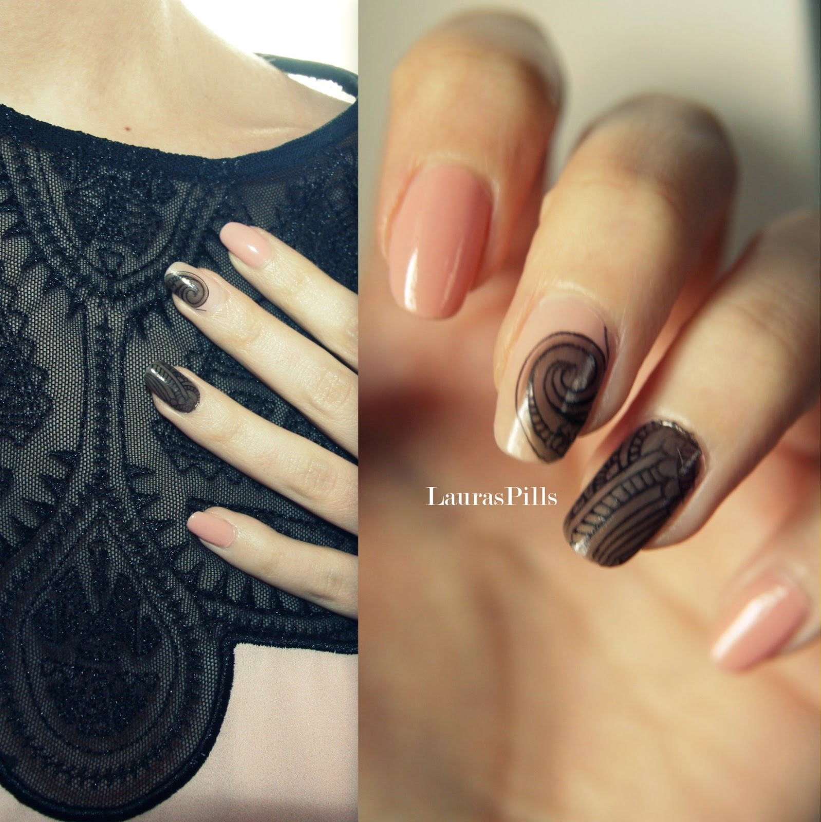 Lauras Pills Sheer Lace Nail Art