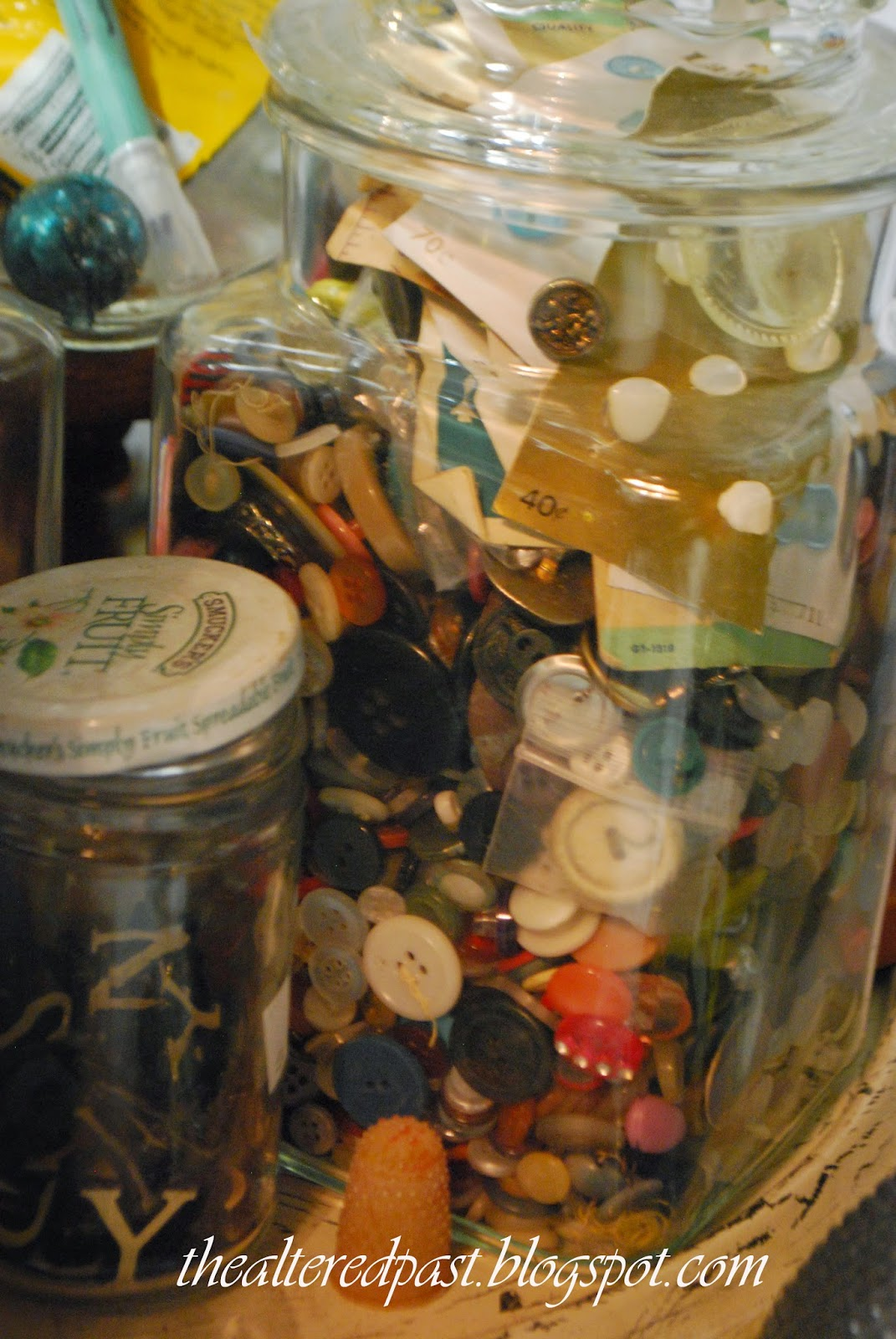 workroom studio, the altered past blog, old buttons and jars