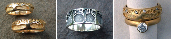 Tree design wedding bands