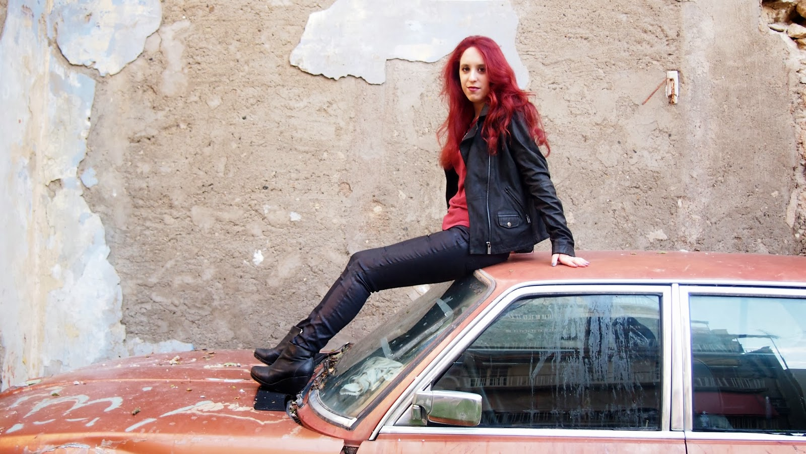 Anna Keni,redhead, spotlights on the redhead,fashion,model,blogger, Act&React, Act and React, wrangler, dyrberg/kern, dyrberg kern, lee, official, going to hell, pretty reckless, rock, old car, attitude