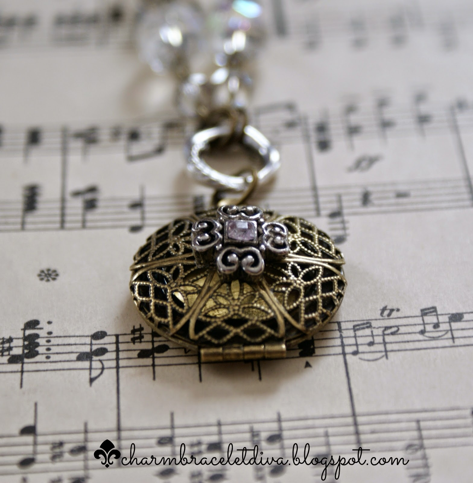 antique brass filigree locket necklace with repurposed charm