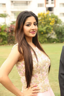 Poonam Kaur in Beautiful Light Pink Sleeveless Anarkali Dress