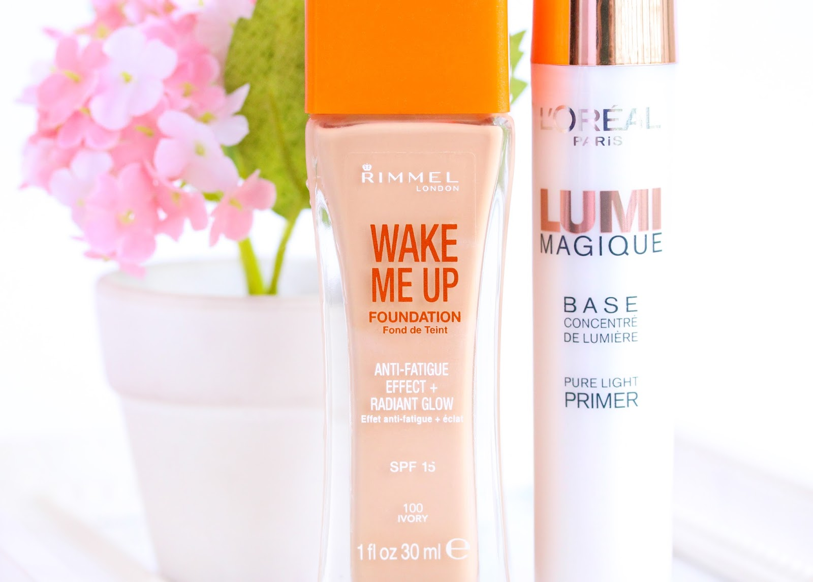 Glowing complexion products - Rimmel Wake Me Up Foundation and Loreal Limi Magique Primer
