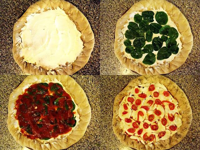 spinach, ricotta, mozzarella pizza