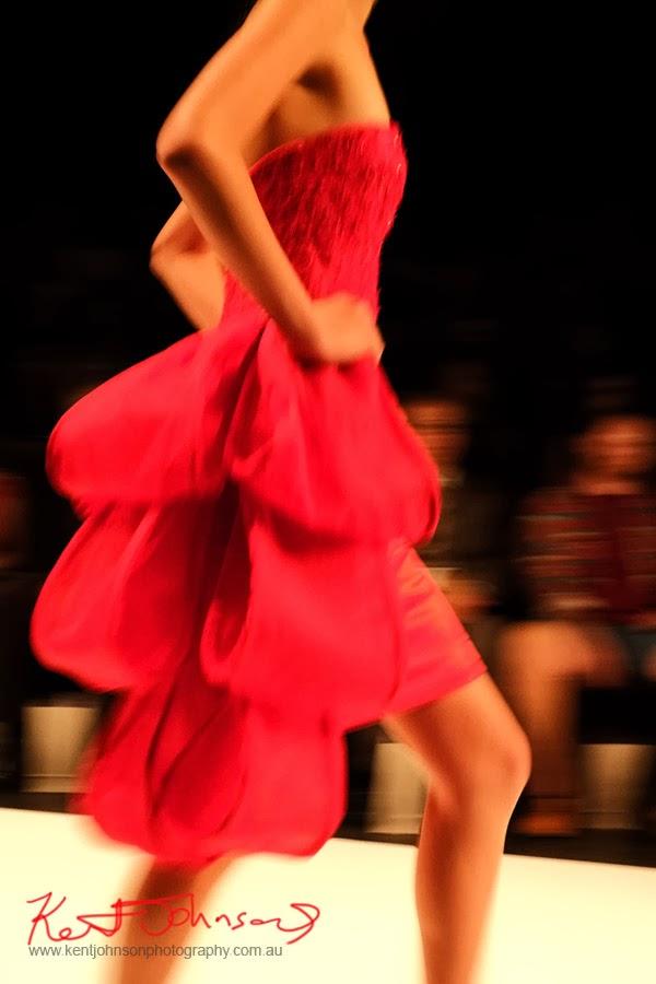 Fergie Theodora; red dress large bows as train -  New Byzantium : Raffles Graduate Fashion Parade 2013 - Photography by Kent Johnson.
