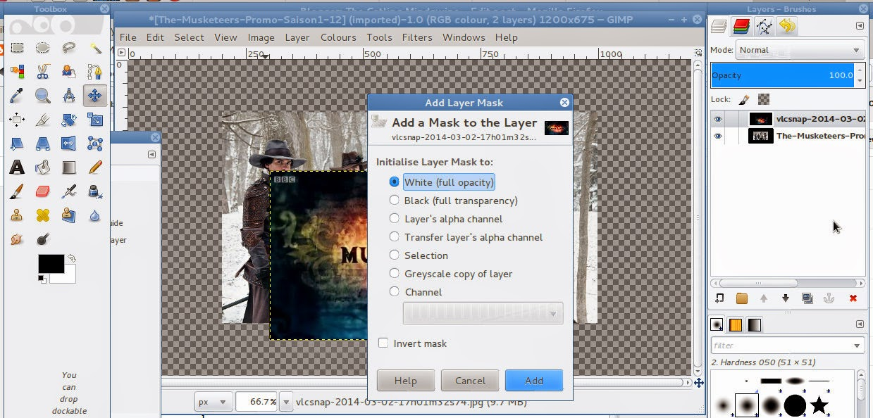 How-to: Blend Images using the GIMP - add layer mask
