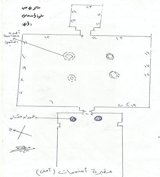 رسم تخطيطي لمقبرة إمنمحات مبين عليها بالأرقام مشاهد المقبرة ونقوشها