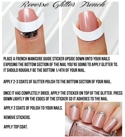 how to create reverse french manicure with glitter