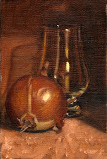 Oil painting of a brown onion in front of a Glencairn whisky glass.