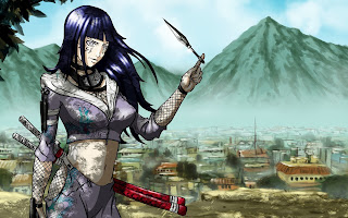Hinata Anime Ninja Sexy Girl Kunai Katana Byakugan HD Wallpaper Desktop PC Background 1313